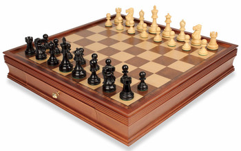 Deluxe Old Club Staunton Chess Set in Ebonized Boxwood and with Large Walnut Chess Case - 3 75 King