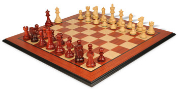 Deluxe Old Club Staunton Chess Set in African Padauk and Boxwood with Molded Padauk Chess Board - 3 25 King