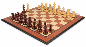 Deluxe Old Club Staunton Chess Set in Rosewood and Boxwood with Rosewood Molded Chess Board - 3 75 King