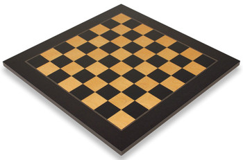 """Black & Ash Burl High Gloss Deluxe Chess Board 1.75"""" Squares"""