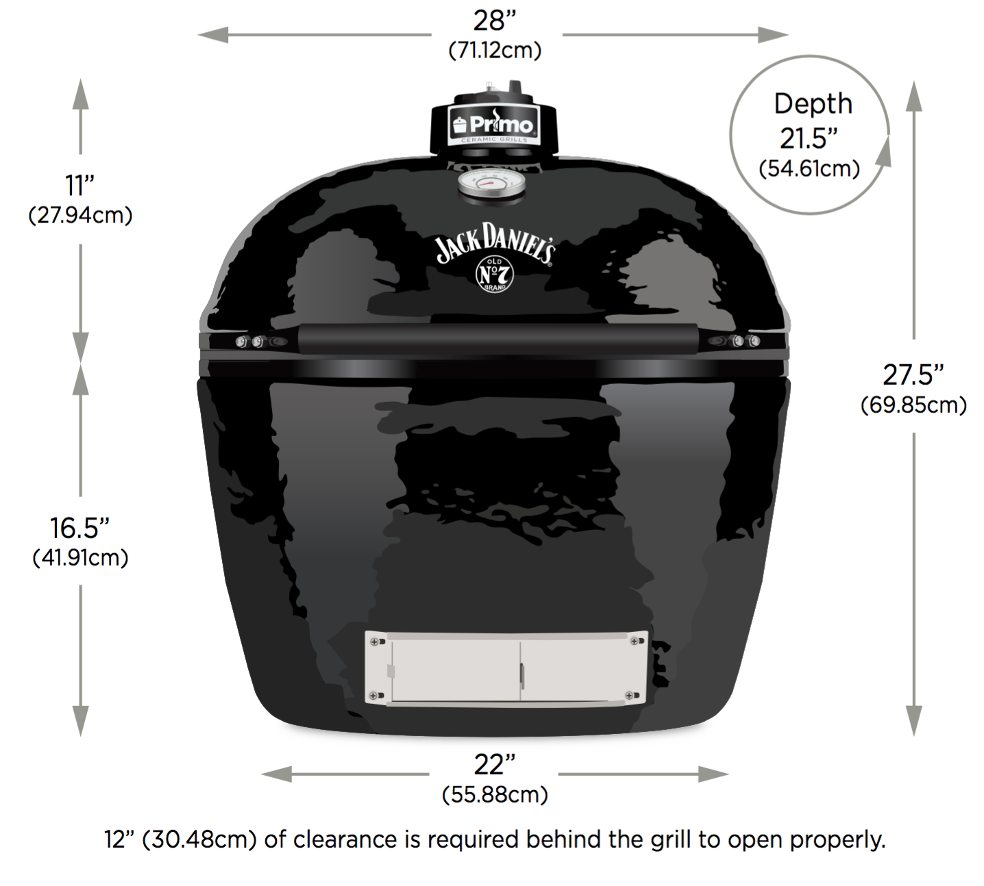 XL Jack Daniels edition specifications for primo smokers