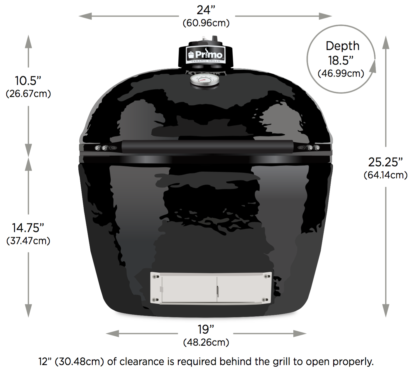 spec sheet for primo large oval smoker