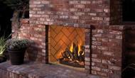 "Superior Mosaic Masonry 42""  Outdoor Vent-Free Fireplace -  Warm Red/Ivory Full Stacked Brick"