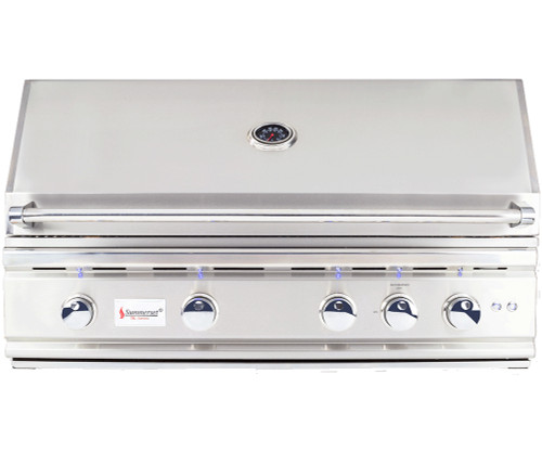 """Premium Commercial Grade BBQ loaded with standard features, including rotisserie kit, led back lighting and large 38"""" BBQ"""