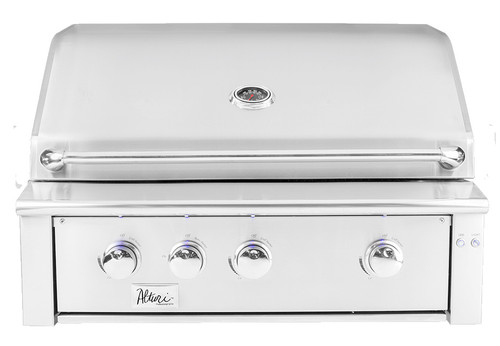 """The 36"""" Alturi gas grill is the sweet spot for size in the luxury grill lineup, packed with features, like led lights, ceramic briquettes, and spring assist hood, all in a built in gas grill"""