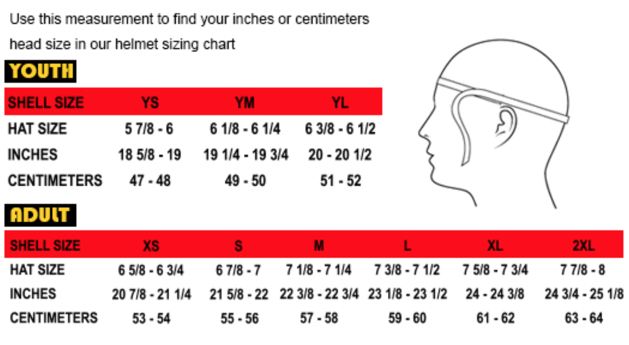 THH Helmet Sizes