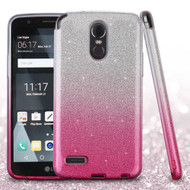 Full Glitter Hybrid Protective Case for LG Stylo 3 / Stylo 3 Plus - Gradient Hot Pink