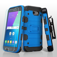 *SALE* Storm Tank Holster Case + Tempered Glass for Samsung Galaxy J3 (2017) / J3 Emerge / J3 Prime / Amp Prime 2 - Blue