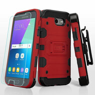 Storm Tank Holster Case + Tempered Glass for Samsung Galaxy J3 (2017) / J3 Emerge / J3 Prime / Amp Prime 2 / Sol 2 - Red