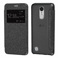 Book-Style Hybrid Glitter Flip Case with Window Display for LG Aristo / Fortune / K8 2017 / Phoenix 3 - Black