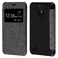 Book-Style Hybrid Glitter Flip Case with Window Display for LG K20 Plus / K20 V / K10 (2017) / Harmony - Black