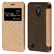 Book-Style Hybrid Glitter Flip Case with Window Display for LG K20 Plus / K20 V / K10 (2017) / Harmony - Gold