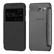 Book-Style Glitter Display Case for Samsung Galaxy J3 (2017) / J3 Emerge / J3 Prime / Amp Prime 2 / Sol 2 - Black