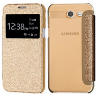 Book-Style Glitter Display Case for Samsung Galaxy J3 (2017) / J3 Emerge / J3 Prime / Amp Prime 2 / Sol 2 - Gold
