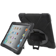 3-IN-1 Hybrid Armor Case with Hand Strap and Rotatable Stand for iPad 2, iPad 3 and iPad 4th Generation - Black