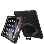 3-IN-1 Hybrid Armor Case with Hand Strap and Rotatable Stand for iPad Air 2 - Black