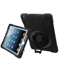 3-IN-1 Hybrid Armor Case with Hand Strap and Rotatable Stand for iPad Air - Black