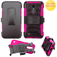 Advanced Armor Hybrid Kickstand Case with Holster for LG K20 Plus / K20 V / K10 (2017) / Harmony - Black Hot Pink