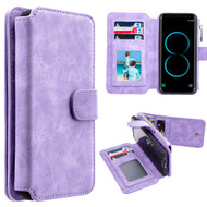 Luxury Coach Series Leather Wallet with Removable Magnet Case for Samsung Galaxy S8 - Lavender