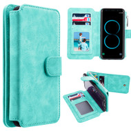 Luxury Coach Series Leather Wallet with Removable Magnet Case for Samsung Galaxy S8 - Teal