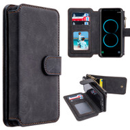 Luxury Coach Series Leather Wallet with Removable Magnet Case for Samsung Galaxy S8 Plus - Black