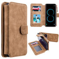 Luxury Coach Series Leather Wallet with Removable Magnet Case for Samsung Galaxy S8 Plus - Brown