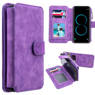 Luxury Coach Series Leather Wallet with Removable Magnet Case for Samsung Galaxy S8 Plus - Purple