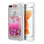 3D Perfume Bottle Quicksand Glitter Case for iPhone 8 Plus / 7 Plus - Hot Pink