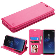 Book-Style Leather Folio Case for Samsung Galaxy S8 Plus - Hot Pink