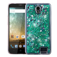 Quicksand Glitter Transparent Case for ZTE Avid Plus / Avid Trio / Maven 2 / Prestige / Sonata 3 - Teal Green