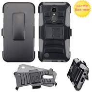 *SALE* Advanced Armor Hybrid Kickstand Case with Holster for LG K20 Plus / K20 V / K10 (2017) / Harmony - Black Grey