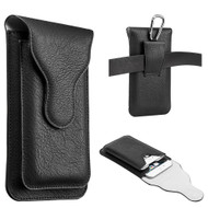 Premium Dual Pockets Vertical Leather Pouch Case - Black