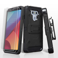 3-IN-1 Kinetic Hybrid Armor Case with Holster and Screen Protector for LG G6 - Black