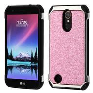 Tough Hybrid Case with Glitter Backing for LG K20 Plus / K20 V / K10 (2017) / Harmony - Pink