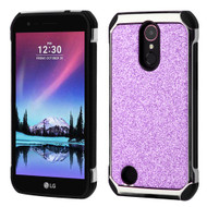 Tough Hybrid Case with Glitter Backing for LG K20 Plus / K20 V / K10 (2017) / Harmony - Purple