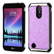 Tough Hybrid Case with Glitter Backing for LG K20 Plus / K20 V / K10 (2017) / Harmony - Purple