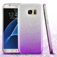 Full Glitter Hybrid Protective Case for Samsung Galaxy S7 Edge - Gradient Purple