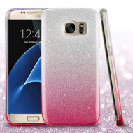 Full Glitter Hybrid Protective Case for Samsung Galaxy S7 Edge - Gradient Hot Pink