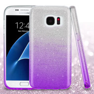 Full Glitter Hybrid Protective Case for Samsung Galaxy S7 - Gradient Purple