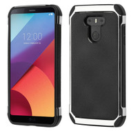 Chrome Tough Anti-Shock Hybrid Case with Leather Backing for LG G6 - Black