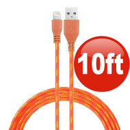 10 ft. Eco-Friendly Braided Nylon Fiber Lightning Connector to USB Charge and Sync Cable - Orange