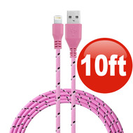 10 ft. Eco-Friendly Braided Nylon Fiber Lightning Connector to USB Charge and Sync Cable - Pink