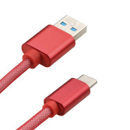 Mesh Type-C Charge and Sync USB 3.1 Cable - Red