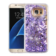 Quicksand Glitter Transparent Case for Samsung Galaxy S7 Edge - Purple