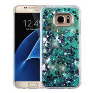 Quicksand Glitter Transparent Case for Samsung Galaxy S7 Edge - Teal Green