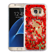 Quicksand Glitter Transparent Case for Samsung Galaxy S7 Edge - Red