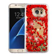 Quicksand Glitter Transparent Case for Samsung Galaxy S7 Edge - Red