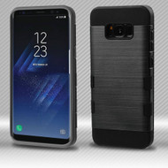 Military Grade Certified TUFF Trooper Dual Layer Hybrid Armor Case for Samsung Galaxy S8 Plus - Black