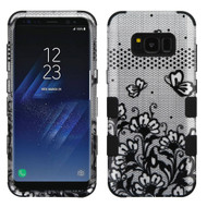 Military Grade Certified TUFF Image Hybrid Armor Case for Samsung Galaxy S8 - Lace Flowers Black