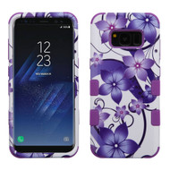 Military Grade Certified TUFF Image Hybrid Armor Case for Samsung Galaxy S8 - Purple Hibiscus Flower Romance